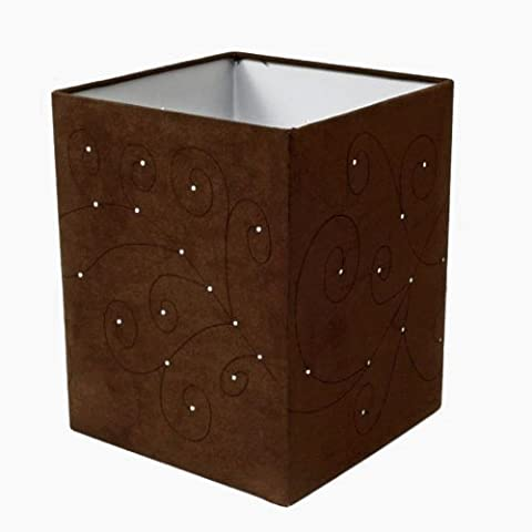 Large Swirls Laser Cut Brown Faux Suede Square Ceiling Light