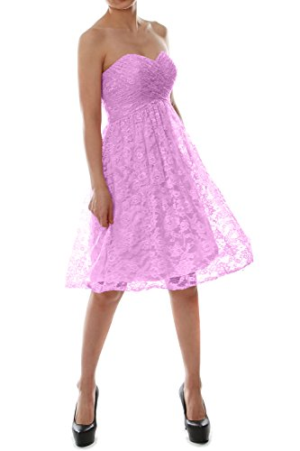 MACloth Strapless Short Lace Bridesmaid Dress Evening Cocktail Party Gown Rosa