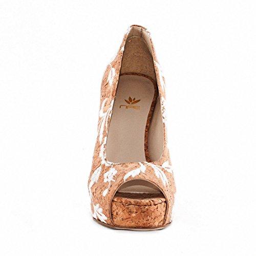 NAE Cork Rose Peep Toe - Damen Vegan Schuhe - 3