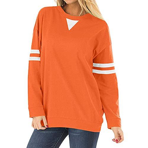 Beonzale Frauen-Streifen-Patchwork-Langes Hülsen-Sweatshirt-Pullover-Hemd Übersteigt Bluse Sweatshirt Kapuzenpullover Herbst Winter Frauen Jumper Langarmshirt (J Crew Denim-kleid)