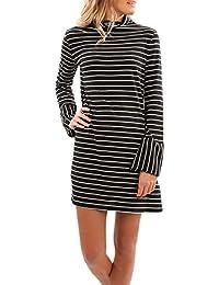 782310c2e793a Vestiti Donna Eleganti Corti Abito Da Manica Lunga High-Neck Camicia  Grazioso Moda Vestito Da