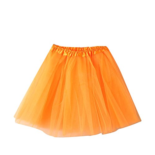 SaiDeng Mini Tutù Con Gonna In Organza Sottogonna Da Balletto, Da Donna, In Tessuto Multistrato Increspato A Falde Pesca Rosso Orange