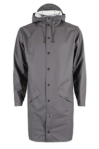RAINS Herren Regenmantel Long Jacket Grey (Smoke)