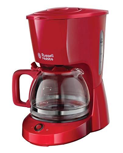 Russell Hobbs Textures - Cafetera de Goteo Jarra  Cafetera para 10 Tazas, Plástico Mate, 975W, Rojo...