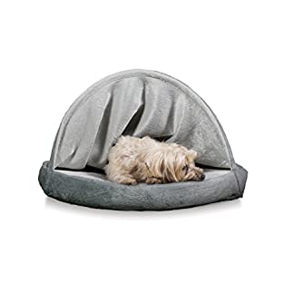 Furhaven Pet Dog Bed   Cooling Gel Memory Foam Orthopedic Round Microvelvet Snuggery Pet Bed for Dogs & Cats, Gray, 26… 16