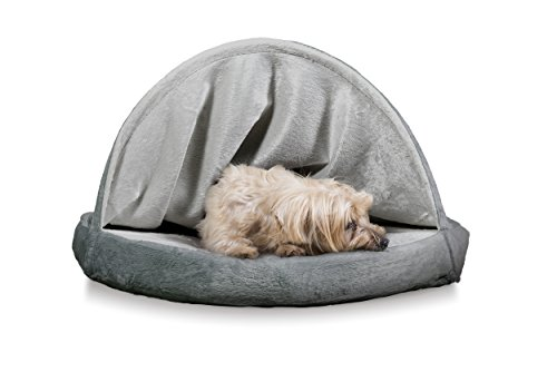 Furhaven Pet Dog Bed   Cooling Gel Memory Foam Orthopedic Round Microvelvet Snuggery Pet Bed for Dogs & Cats, Gray, 26… 1