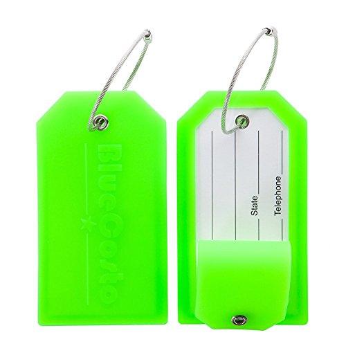 CSTOM Etiqueta de Equipaje Maleta Accesorios de Viaje +privacidad con cubierta de acero Loops -Verde, 2-Pack