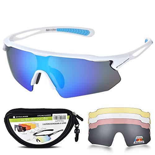 Snowledge Sportbrille Herren und Damen Sonnenbrille Erwachsene Sport Radbrille Polarisiert Brille Motorradbrille Fahrradbrille Unzerbrechlichem Rahmen TR90 UV400 Schutz