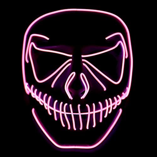 Preisvergleich Produktbild Wuudi LED Masken Erschreckend LED Halloween Masken Für Festival, Cosplay, Halloween, KostümParty (Rot)