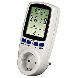 Hama Energiekosten Strommessgerät Premium (Stromtarif frei einstellbar, Standby- und Stromverbrauch messen) weiß