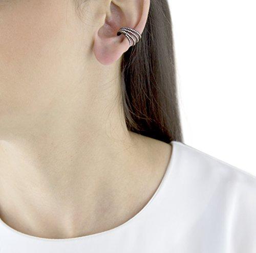 Joelle Jewellery Boucles d'Oreilles Plaqué Or Diamant Femme noir