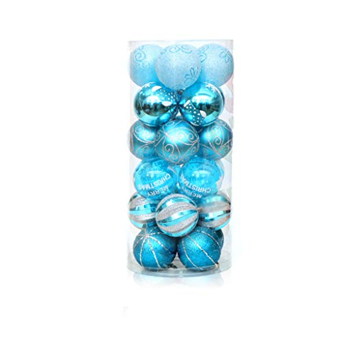 Minidar Ball-Christbaumschmuck-Baum bruchsicher Dekoration 24ct 60mm zarte Malerei & glitzernde Kugelkugeln Set Basic Blue Serie,Lakeblue - 24k Fass
