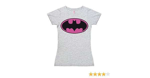 Logoshirt Girl-Shirt BATMAN LOGO PINK grey-melange