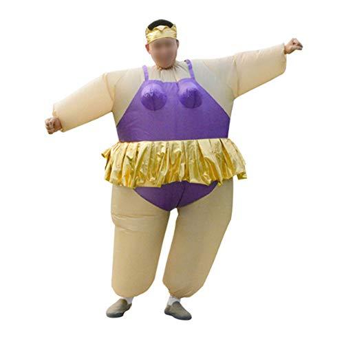 Für Fett Kostüm Tanz - S+S Aufblasbare Kleidung Ballett Lustig Fett Kostüm Lustig Sumo Wrestler Wrestling Anzug Halloween-kostüm Für Erwachsene Männer Und Frauen, Eine Größe,Purple