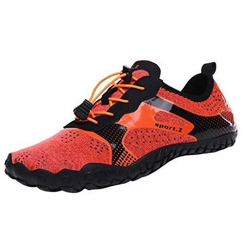 Chaussures Aquatiques Scenxion - Séchage Rapide - Unisexe - 14 Trous de Drainage - pour la Natation, la Plage, la Natation - Unisexe - avec Cordon de Serrage - Orange - Orange, 44 EU