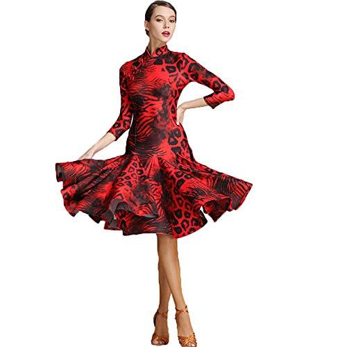Kleid Kostüm Dance Lyrische - WSJS Moderne Mode Rotes Tanzkleid Für Frauen Chinesischen Stil Cheongsam Leopardenmuster Seite Aufgeteilte Lyrisches Kleid Latin Dance Kostüm Klassisches Kleid Nacht Cocktail,L