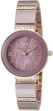 Anne Klein Women's AK/3340MVRG Swarovski Crystal Accented Rose Gold-Tone and Mauve Ceramic Bracelet W