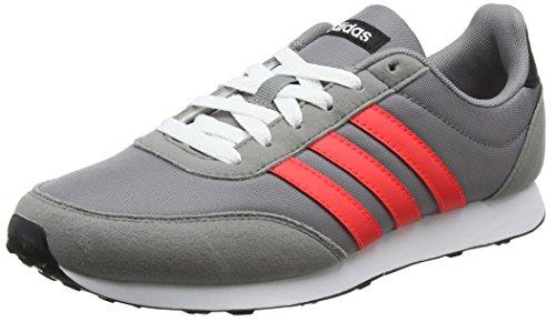 adidas V Racer 2.0, Scarpe da Ginnastica Basse Uomo, Grigio (Grey Three/Solar Red/Core Black), 48 EU
