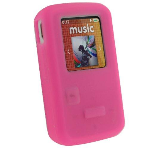 igadgitz Pink Rosa Silikon Skin Tasche Hülle für SanDisk Sansa Clip Zip 4GB 8GB MP3 Player (Veröffentlicht August 2011) Pink Mp3 Sansa Clip