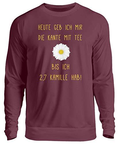 Piasana Lustiger Spruch Witz Kamille Tee Alkohol Ironisch - Nicht nur für Teetrinker - Unisex Pullover -XL-Burgundy -