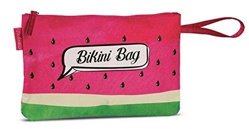 Bikini Bag Tasche Beutel für nasse Badesachen wasserabweisende Badetasche im Trend-Design Melone pink