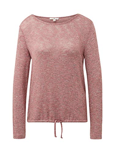 TOM TAILOR Damen T-Shirt Loose K, Vintage Rose Melange Langarmshirt, Rosa 13996, Medium (Herstellergröße: M) -