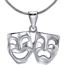 Silvego ZTP48678 - Colgante máscaras de teatro de plata de ley 925 rodiado