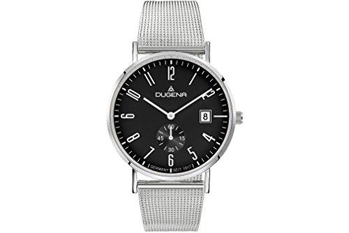 dugena automatik herrenuhr Dugena Herren Quarz-Armbanduhr, Saphirglas, Milanaise-Armband, Mondo, Silber, 4460782