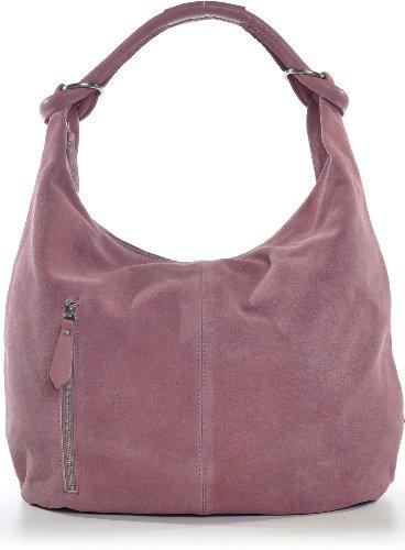 CNTMP Damen Schultertasche Leder, Hobo-Bag, Leder Handtasche Damen, Beuteltasche Wildleder, Leder-Tasche DIN-A4, 44x36x4cm (B x H x T) (Rosa (Rosé)) (Suede-leder-hobo)