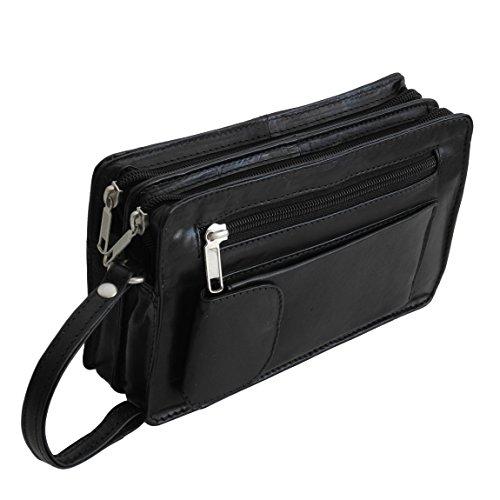 Bag Street Leder - exquisite Leder Herren Handgelenktasche , Herrentasche , Handtasche , Handgepäck-Tasche ( Schwarz - Doppelkammer ) - präsentiert von ZMOKA® (Handtasche Grün-legere)