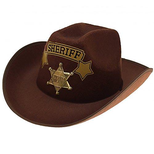 Diverse 1 x Cowboyhut Hut Sheriff Westernhut Western Kostüm Karneval Fasching Party (Für Erwachsene Sheriff Kostüm)