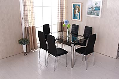 OSPI 2 Tier Tempered Glass Dinner Table & leather cover Chairs sets pack of -Black color Stainless Steel legs - inexpensive UK light store.