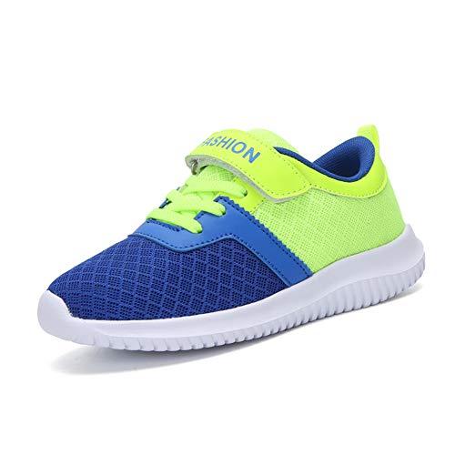 Minbei Unisex Kinder Hallenschuhe Klettriemen Jungen Sneakers Atmungsaktive Sportschuhe Laufschuhe Mädchen Leichte Turnschuhe Grün 35 EU