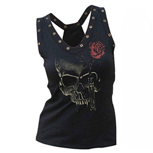Damen Gotisch Punk Tanktops Schädel Ärmellos Rennfahrer Hohl Weste Oben Sommer Sexy Goth T-Shirt Abschlag