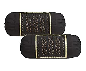 """HSR Collection Cotton Bolsters Cover - 32""""x16"""", Set of 2, Coffee"""