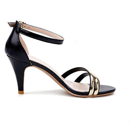 W&LM Signorina Tacco alto sandali Tacchi alti sandali è buono sandali Piattaforma impermeabile dito del piede sandali Black