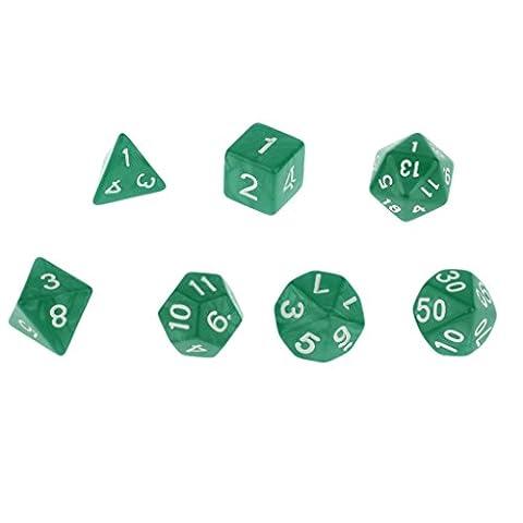 Neue 7pcs / Set Trpg Spiele Dungeons & Dragons D4-d20 Mehrseitige Würfel - Grün