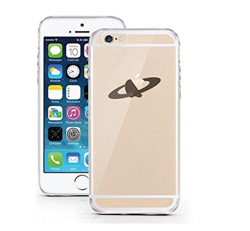 iPhone 6 6S Hülle aus TPU Planetenring minimalistisches Design Apple Logo Case schwarzes Motiv auf transparentem iPhone Case Saturn - licaso® (iPhone 6 6S, Umlaufbahn) Umlaufbahn