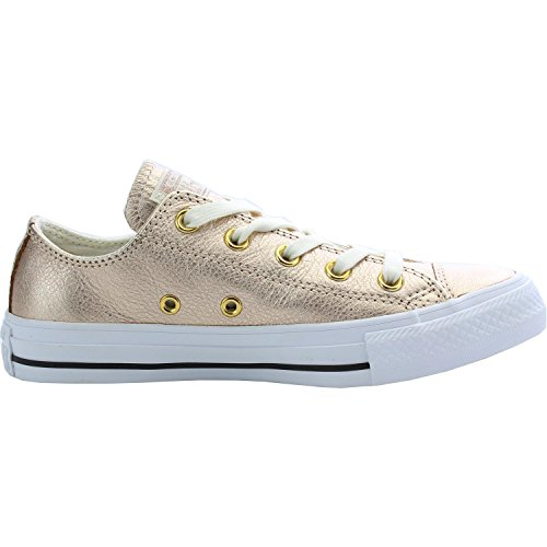 Converse Chuck Taylor All Star Metallic Foil Ox Blush Gold Leather Trainers Rosa