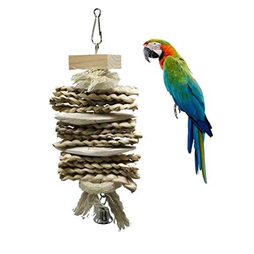 ZHER-LU Parrot Toys Loofah Cuttlebone Erba Chew Giocattolo per Pappagallo Ara Pappagallo Africano Grigio Budgie Cockatoo Pet Supplies Bell Toy