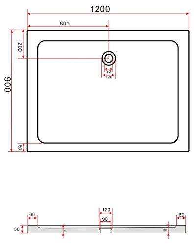 120×90 Duschtasse Duschwanne Extra flach 50 mm Rechteck Schwarz - 3