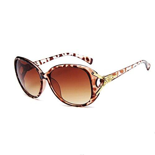 Moolo Sonnenbrille Sonnenbrille Frau Anti-UVA Fox Kopf Box Klassische Wild Sonnenbrille (Farbe : Leopard)