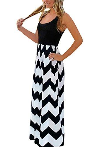Yidarton Sommerkleid Damen mit V-Ausschnitt Lang High Waist Elastische Striped Sleeveless Beach Kleid Partykleid Elegant (XX-Large, Schwarz) - Datum Hochzeit Das Der Gedruckt