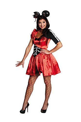 Generique - Sexy Zombie-Maus-Kostüm für Damen rot-schwarz-weiß ()