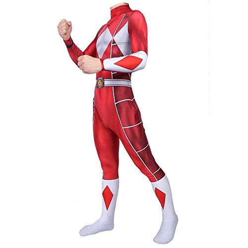 Power Rangers Kostüm Erwachsene Verkleidung Kinder Superhelden Kostüme,Movie Cosplay Overall Kostüm,Halloween Karneval Kostüm,Fancy Kleid,RedChild-XS