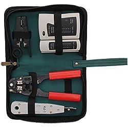 MultiWare Netzwerk Werkzeug Set aus Kabeltester Abisolierwerkzeug Auflegewerkzeug Crimpzange und Etui 4tlg