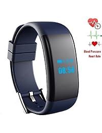 iRapid fréquence cardiaque sang oxygène pression moniteur montre bracelet Bluetooth Sports Smart Watch IP67 étanche Bracelet pour IOS,Android système Smart phones (Bleu)
