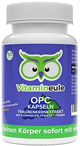 OPC Traubenkernextrakt Kapseln hochdosiert mit 300mg OPC pro Kapsel - Oligomere Proanthocyanidine - 100% OPC Pulver ohne Zusätze - vegan - Qualität aus Deutschland - kleine OPC Kapseln - Vitamineule®