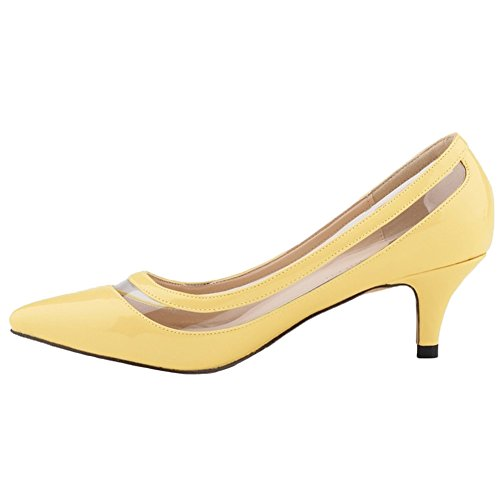 HooH Femmes Kitten Heel Transparent Bout pointu Work Robe Escarpins Jaune