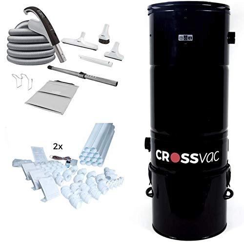 crossvac Zentralstaubsauger Set Large Interactive mit Staubsaugeranlage 3750, Deluxe Schlauch Set und 6 Deco Saugdosen sowie 30m Vakuumrohr
